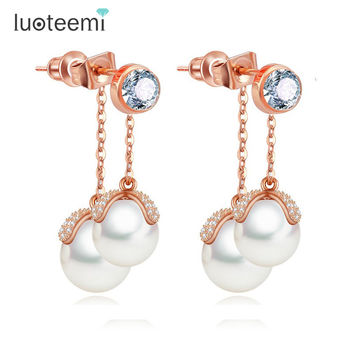 LUOTEEMI Rose Gold Elegant Stylish Zircon Micro Paved Double Sided Pearl Tassel Dangle Earrings Female Perfect High-end Jewelry