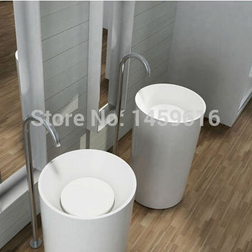 Bathroom Round Pedestal Washbasin Solid Surface Stone Cloakroom standing Vanity Sink W9004