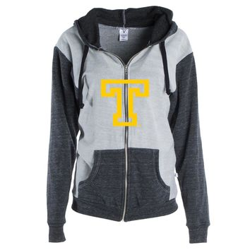 Official NCAA Trinity College Bantams - PPTNC06 Womens Color Block Kangaroo Pocket Zip-Up Hoodie