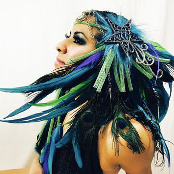 Peacock Gypsy head piece / burning man/ EDC / Coachella / rave outfit / hair piece / tomorrowworld