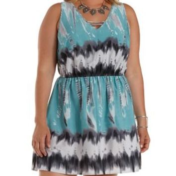 Plus Size Blue Combo Caged Tie-Dye Dress by Charlotte Russe