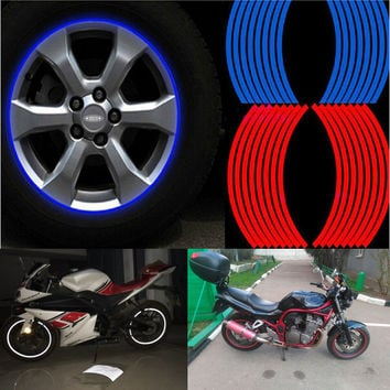 16pcs Strips Motorcycle Car Sticker Wheel Tire Stickers Reflective Rim Tape Motorcycle Car Styling for Bike car motorcycle diy