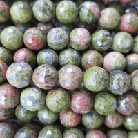 faceted unakite jasper beads - green faceted stone beads - faceted round  unakite jewelry beads - unakite bracelet beads - 15inch