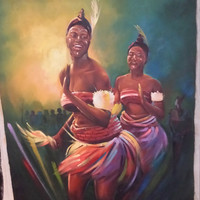 "Huge ""MAIDEN DANCERS"" by MONDAY African Black Women oil painting realism 24x36"