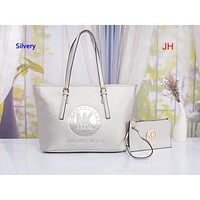 MK Hot Selling Pure Embossed Lady's Two-piece Single Shoulder Bag Silver