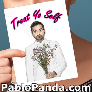 Funny Birthday Card | Parks and Recreation | treat yo self bday tom haverford Aziz Ansari I love you pop culture blank friendship boyfriend