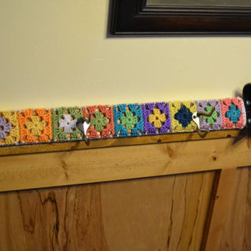 Coat Hat Rack Covered in Crochet Granny Squares Shabby Chic Cottage Multicolor Upcycle