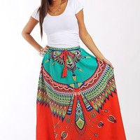 Dream Catcher Maxi Skirt, Coral