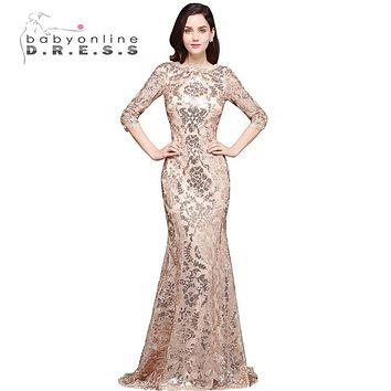 2017 Mermaid Gold Sequined Appliques Sheer Evening Dress Long Robe De Soiree Longue Evening Gown