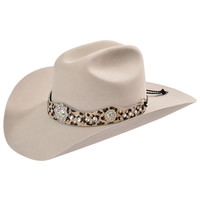 Katydid Rhinestone Embellished Leopard Hair on Hide Leather Hat Band - Sheplers