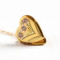 Vintage Heart Locket - WWII 1940s 12k Rosy Yellow Gold Filled Necklace - Floral Sweetheart Pendant Keepsake Mid Century Flower Jewelry