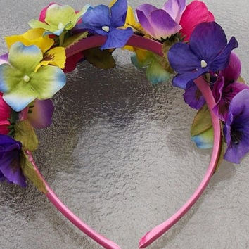 Fairy Flower Garland Headband with Pansies, Hydrangeas, and Anemones in Pink, Purple, Yellow, Blue, and Green
