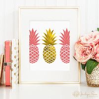 Faux gold foil and pink 3 pineapples, printable wall art decor, minimalist art, faux gold foil, office or bedroom art, digital download JPG