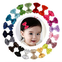"Shemay™ 2"" Tiny Solid Hair Bow Clip Barrette for Little/Baby Girl Toddler,20pcs"