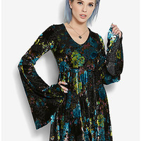 Floral Velvet Bell Sleeve Dress