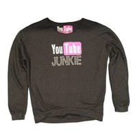 So Nikki Girls Printed YouTube Junkie Pullover Charcoal Sweatshirt