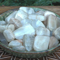 Moonstone Tumbled Gemstone . Set of Three . Lunar Magick, Intuition, Protection, Love, Mental Clarity and Stability