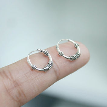 Sterling Silver 12 mm hoop earrings - Cartilage Hoop Earrings - Bali hoop Earrings, Helix Hoop Earrings, Tiny Hoop Earrings, helix piercing