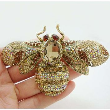 Vintage Retro Bee Insectl Gold Tone Brooch Pin Brown Crystal Rhinestone Party Jewelry
