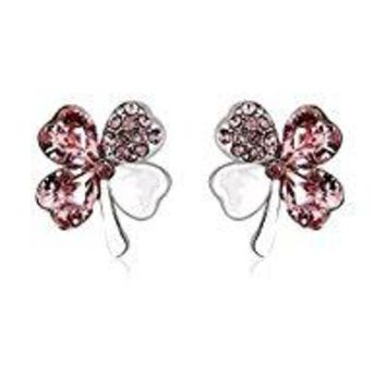 "UPSERA ""You are My Lucky Charm"" 4 Leaf Clover Stud Earrings – four hearts- Made with Swarovski Crystals – Rhodium plated Jewelry for women – Gift pouch included – Select your new favorite"