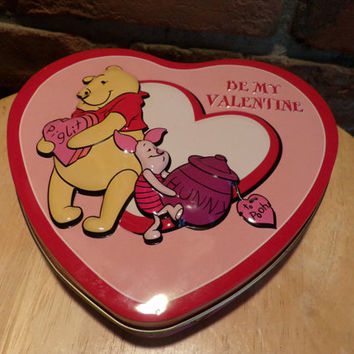 Winnie The Pooh Valentine Heart Tin Box Container Canister, Valentine's tin, Vintage Pooh tin