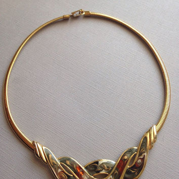 Gold Enamel Bib Necklace Choker Style 1980s