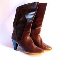 brown leather boots with heels, Estonian vintage