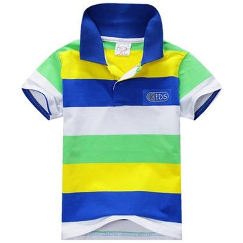 Summer Style Kids Baby Boys Cotton Striped T-shirt Multi Color Short Sleeve Top S-XXL