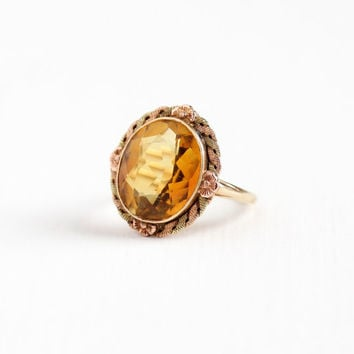 Vintage 10k Rose & Yellow Gold Citrine Ring - Size 6 Art Deco 1920s 1930s 5+ Carats Orange Yellow Gemstone Two Tone Flower Halo Fine Jewelry