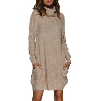 Chic Turtleneck Loose-fitting Front Pocket Women Sweater Dress