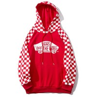VANS x OFF THE WALL fashion hot seller for women's casual checked patchwork color hoodies Red