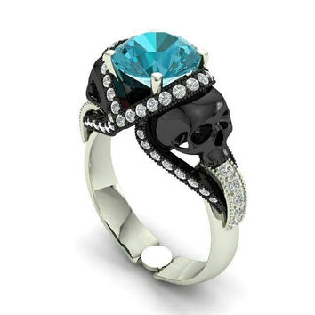 Aquamarine Skull Engagement Ring