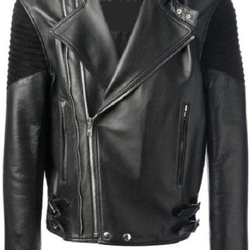 Men's Lamb Nappa and Suede Biker Leather Jacket