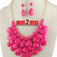 Womens red Necklace and Earrings set Bubble Necklace wedding necklace red Bib Necklace Drop Shape Necklace Statement Necklace
