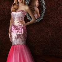 Fashionable Mermaid Sweetheart Floor-length Prom Dress With Sequin Style 35555,Pink prom dress
