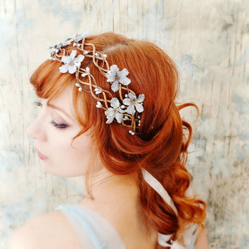 Floral vine crown, blue floral head piece, silver wedding head wreath, bridal hair accessories