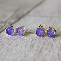 Druzy Stud Earrings Gold and  Silver Plated Gemstone Stud Earrings