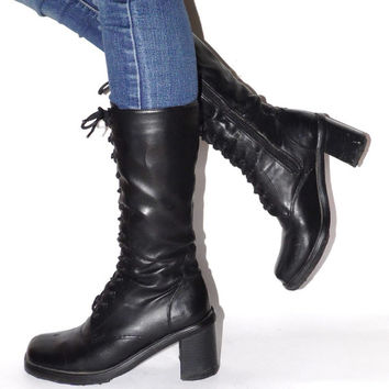 Black lace up boots Long heavy goth boots Small size 90s long boots Black platform Leather  boots Long tie boots High black Fall Boots