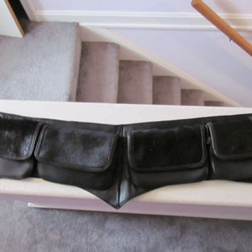 CLEARANCE SALE Black Leather and Horsehair Renaissance Festival Faire Belt with Pockets, Large to X-Large
