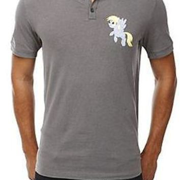 Licensed cool My Little Pony BRONY Derpy Muffins POLO Collar Gray Shirt SLIM FIT FIM XS NEW