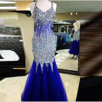 Vestidos de Festa Royal Blue Luxury Mermaid Prom Dresses 2016 Halter Crystal Rhinestone Criss Cross Graduation Party Dresses