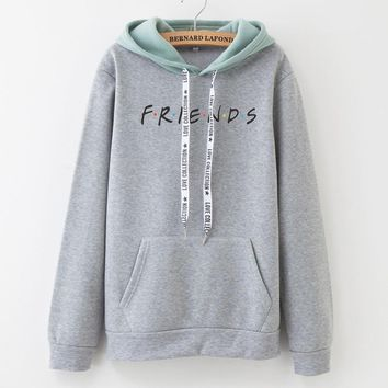 U.S. Classical TV series friends Hoodie Women Men girls patchwork Sweatshirt Fleece friends tv Letter Print Hooded hoodies m-XXL