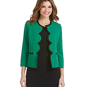 Kasper Framed-Scallop Crepe Jacket - Emerald/Black