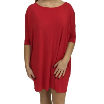 Red Piko Tunic Half Sleeve Top