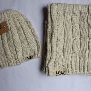 """UGG"" Fashion Winter Keep Warm Scarf Hat Two-piece Suit"