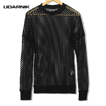 Men Fishnet Mesh Top Shirt T-shirt Dance Gothic Punk Long Sleeve Fashion Hip-hop Black Casual Street New 904-751