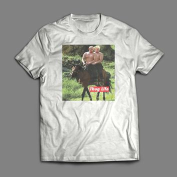 "VLADIMIR PUTIN AND DONALD TRUMP ON HORSEBACK ""THUG LIFE"" T-SHIRT"