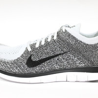 Nike Men's Free 4.0 Flyknit White/Black/Charcoal Running Shoes 631053 010