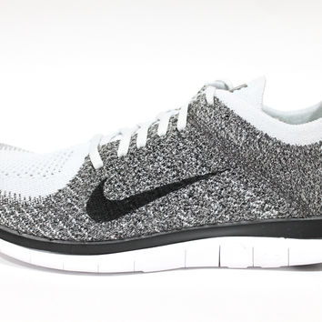 low priced 74ae1 32d07 Nike Men s Free 4.0 Flyknit White Black Charcoal Running Shoes 631053 010