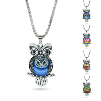 Fashion Owl Newest Glass Cabochon Vintage Sterling Silver Pendant Statement Necklace